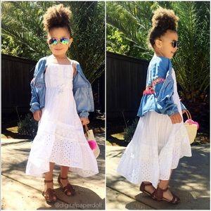 Girls Sleeveless Cotton Eyelet Maxi Dress (XS)